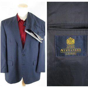Alexandre London Dark Navy Blue Wool Suit 44